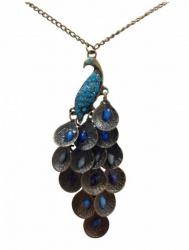 Halskette mit Pfau Anhänger im Boho Stil Türkis