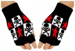 Fingerlose Handschuhe Totenköpfe Sterne