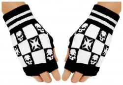 Fingerlose Handschuhe Schachmuster für Teens