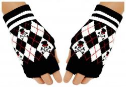 Fingerlose Handschuhe Schwarz Weiß Rauten für Teens