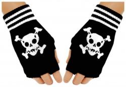 Fingerlose Handschuhe Totenkopf für Teens