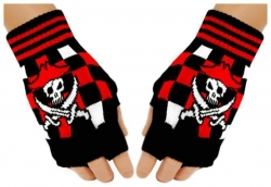 Fingerlose Handschuhe Piraten Totenkopf für Teens