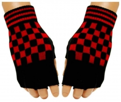 Fingerlose Schachmuster Handschuhe Rot