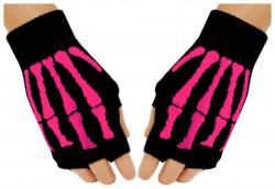 Fingerlose Pinke Skelett Handschuhe