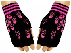 Fingerlose Pinke Totenköpfe Handschuhe