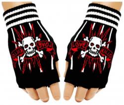 Fingerlose Gothic Handschuhe Totenkopf