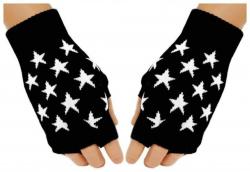 Fingerlose Handschuhe Weiße Sterne
