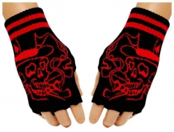Schwarze Fingerlose Handschuhe Rauchender Totenkopf