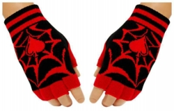 Schwarze Fingerlose Handschuhe Spinnennetz