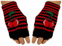 Gestreifte Fingerlose Handschuhe Kirschen