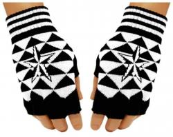 Schwarze Fingerlose Handschuhe Weißer Stern