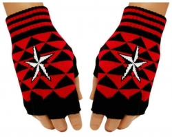 Schwarze Fingerlose Handschuhe Rote Dreieicke