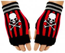 Gestreifte Fingerlose Handschuhe Totenkopf