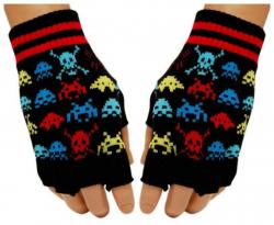Schwarze Fingerlose Handschuhe Bunte Totenköpfe