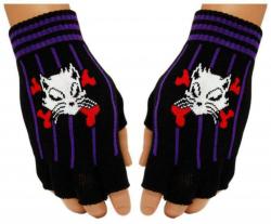 Schwarze Fingerlose Handschuhe Katzen Totenkopf