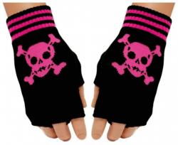 Pinke Totenköpfe Fingerlose Handschuhe für Teens