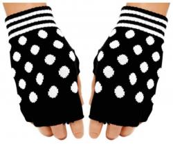 Schwarze Fingerlose Handschuhe Weiße Punkte