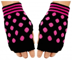 Schwarze Fingerlose Handschuhe Pinke Punkte