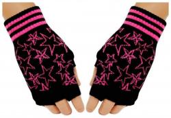 Pinke Sterne Schwarze Fingerlose Handschuhe