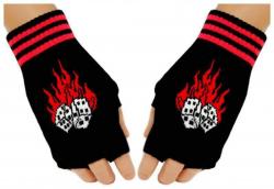 Schwarze Fingerlose Handschuhe Flammender Würfel