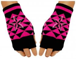 Schwarze Fingerlose Handschuhe Pinke Dreieicke