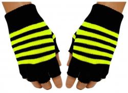 Gestreifte Fingerlose Handschuhe Neongelb