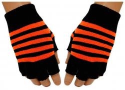 Gestreifte Fingerlose Handschuhe Neonorange
