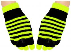 2 in 1 Handschuhe Gelbe Streifen für Teens