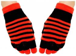 2 in 1 Handschuhe Orangene Streifen