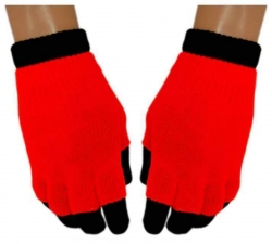 2 in 1 Handschuhe Dunkelorange für Teens