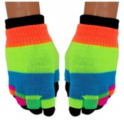 2 in 1 Handschuhe Regenbogen Streifen für Teens