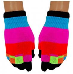 2 in 1 Handschuhe Neon Streifen für Teens