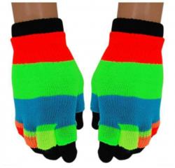Neon Gestreifte 2 in 1 Handschuhe