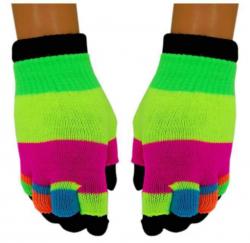 Neon Streifen 2 in 1 Handschuhe