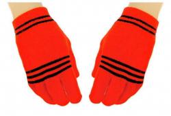 Orangene Handschuhe Schwarze Streifen