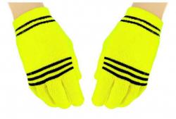 Gelbe Handschuhe Schwarze Streifen