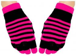 2 in 1 Handschuhe Pinke Streifen für Teens