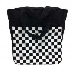 Schwarze Schultertasche Schachmuster