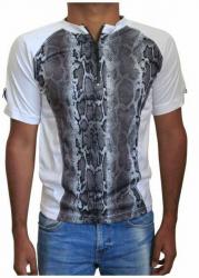 Weißes Unisex T-Shirt Graue Schlangenhaut