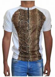 Weißes Unisex T-Shirt Braune Schlangenhaut