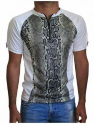 Weißes Unisex T-Shirt Beige Schlangenhaut