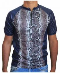 Blaues Unisex T-Shirt Graue Schlangenhaut