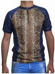 Blaues Unisex T-Shirt Braune Schlangenhaut