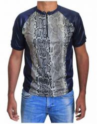 Blaues Unisex T-Shirt Beige Schlangenhaut