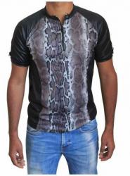 Schwarzes Unisex T-Shirt Graue Schlangenhaut