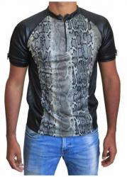 Schwarzes Unisex T-Shirt Beige Schlangenhaut
