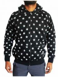 Schwarzer Zip Hoodie Weiße Sterne