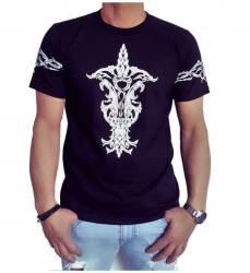Schwarzes Tribal Motiv T-Shirt