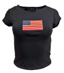 Schwarzes Girlie Top USA