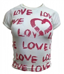 Weißes Girlie Top Love